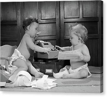 Copy Machine Canvas Print - 1960s Two Babies Wearing Diapers by Vintage Images