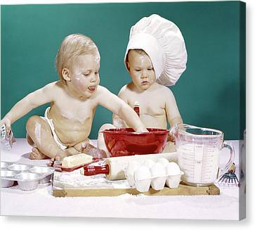 Old Pitcher Canvas Print - 1960s Two Boy Babies One Wearing Chef by Vintage Images