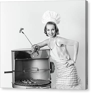 Black Top Canvas Print - 1960s Woman Wearing Chef Hat Standing by Vintage Images