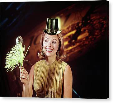 Happy New Year Canvas Print - 1960s Young Blonde Woman Party Hat by Vintage Images
