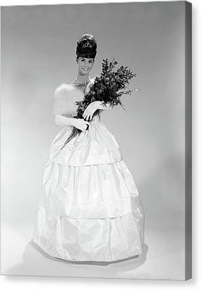 Ball Gown Canvas Print - 1960s Young Woman In Evening Dress by Vintage Images