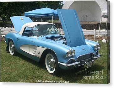 1961 Blue Jewel Metallic Corvette Canvas Print