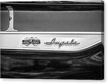1961 Chevrolet Bel Air Impala Bubble Top Emblem -0603bw Canvas Print by Jill Reger