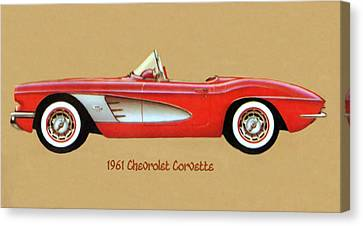 1961 Chevrolet Corvette Canvas Print by Walter Colvin