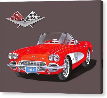 1961 Corvette Convertible Canvas Print by Jack Pumphrey