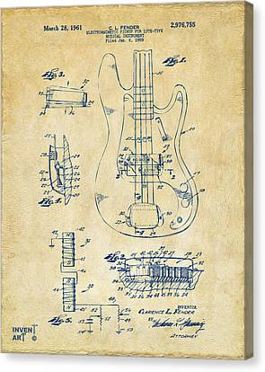 1961 Fender Guitar Patent Artwork - Vintage Canvas Print by Nikki Marie Smith