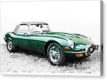 British Classic Cars Canvas Print - 1961 Jaguar E-type Watercolor by Naxart Studio