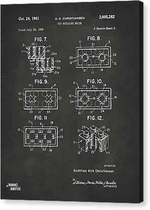 1961 Lego Brick Patent Art - Gray Canvas Print by Nikki Marie Smith