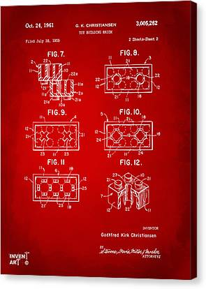 1961 Lego Brick Patent Art Red Canvas Print by Nikki Marie Smith