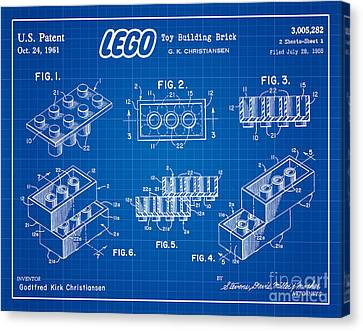 1961 Lego Building Blocks Patent Art 3 Canvas Print by Nishanth Gopinathan