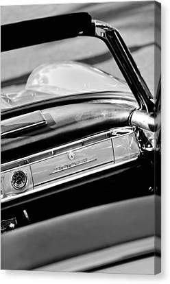 1961 Mercedes-benz 300 Sl Roadster Dashboard Emblem Canvas Print