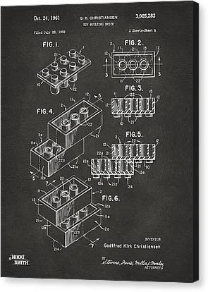 1961 Toy Building Brick Patent Art - Gray Canvas Print by Nikki Marie Smith