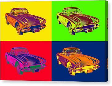 Chevy Canvas Print - 1962 Chevrolet Corvette Pop Art by Keith Webber Jr