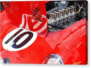 1962 Ferrari 250 Gto Engine Watercolor Canvas Print by Naxart Studio