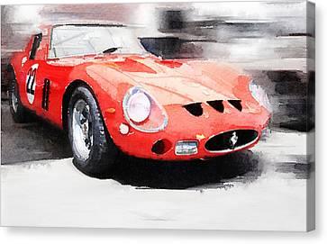 1962 Ferrari 250 Gto Watercolor Canvas Print by Naxart Studio