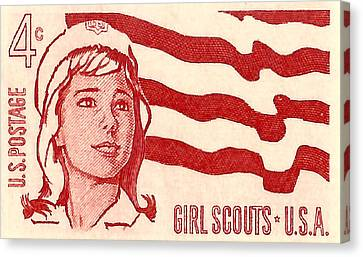 1962 Girl Scouts Of America Postage Stamp Canvas Print by David Patterson