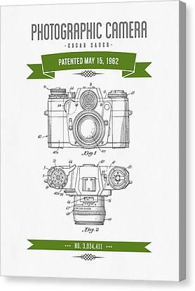 1962 Photographic Camera Patent Drawing - Retro Green Canvas Print