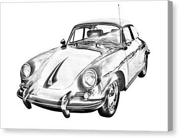 Porsche 356 Coupe Front Canvas Print - 1962  Porsche 356 E Illustration by Keith Webber Jr