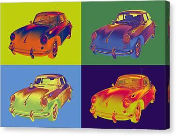 Porsche 356 Coupe Front Canvas Print - 1962  Porsche 356 E Pop Art by Keith Webber Jr