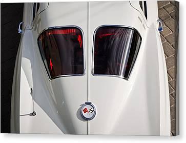 White Chevy Canvas Print - 1963 Chevrolet Corvette Split Window -399c by Jill Reger