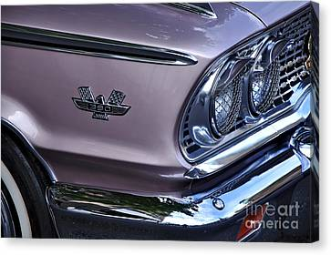 1963 Ford Galaxie Front End And Badge Canvas Print by Kaye Menner