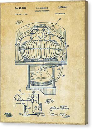 1963 Jukebox Patent Artwork - Vintage Canvas Print by Nikki Marie Smith