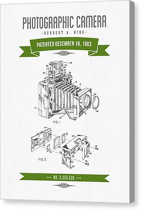 1963 Photographic Camera Patent Drawing - Retro Green Canvas Print by Aged Pixel