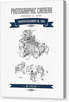 1963 Photographic Camera Patent Drawing - Retro Navy Blue Canvas Print