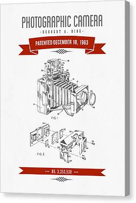 1963 Photographic Camera Patent Drawing - Retro Red Canvas Print by Aged Pixel