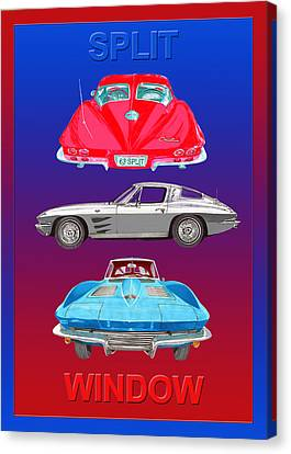 Patriotic 1963 Split Window Corvette Canvas Print by Jack Pumphrey