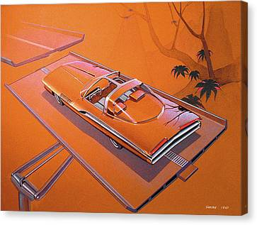 1963 Turbine Show Car  Plymouth Concept Car Vintage Styling Design Concept Rendering Sketch Canvas Print