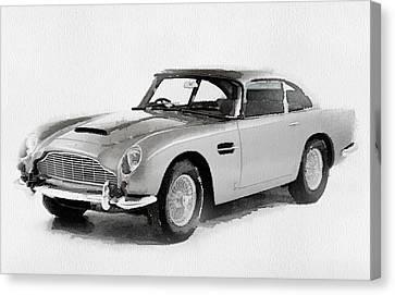 British Classic Cars Canvas Print - 1964 Aston Martin Db5 Watercolor by Naxart Studio