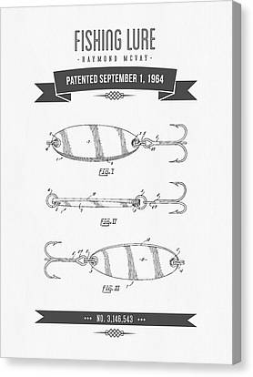 1964 Fishing Lure Patent Drawing 01 Canvas Print by Aged Pixel
