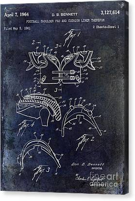 1964 Football Shoulder Pads Patent Blue Canvas Print by Jon Neidert