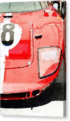 1964 Ford Gt40 Front Detail Watercolor Canvas Print by Naxart Studio