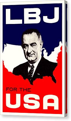 1964 Lbj For The Usa Canvas Print by Historic Image