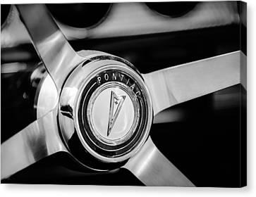 1964 Pontiac Gto Convertible Steering Wheel Emblem -1014bw Canvas Print by Jill Reger