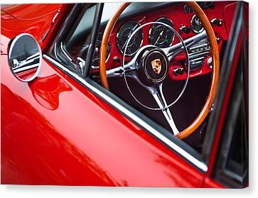 1964 Porsche 356 Carrera 2 Steering Wheel Canvas Print by Jill Reger