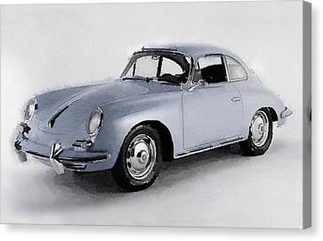 1964 Porsche 356b Watercolor Canvas Print by Naxart Studio