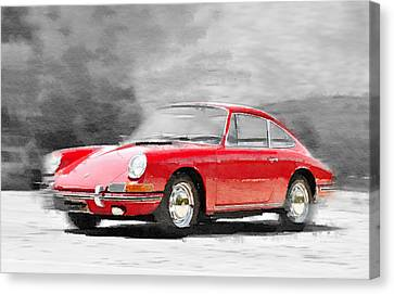 1964 Porsche 911 Watercolor Canvas Print by Naxart Studio