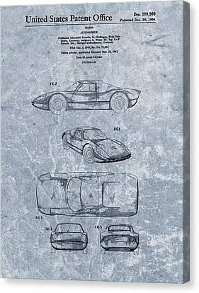 1964 Porsche Patent Blue Canvas Print