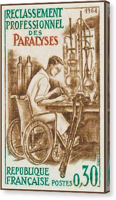 Crutch Canvas Print - 1964 Reclassification Professional Paralyzed by Lanjee Chee