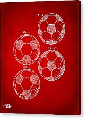 1964 Soccerball Patent Artwork - Red Canvas Print