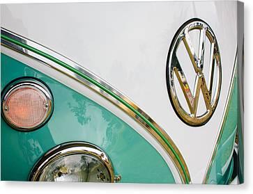1964 Volkswagen Samba 21 Window Bus Vw Emblem Canvas Print by Jill Reger