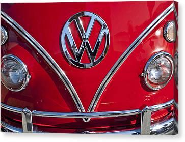 1964 Volkswagen Vw Double Cab Emblem Canvas Print by Jill Reger