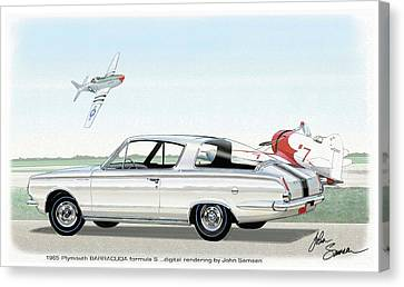 Virgil Canvas Print - 1965 Barracuda  Classic Plymouth Muscle Car by John Samsen