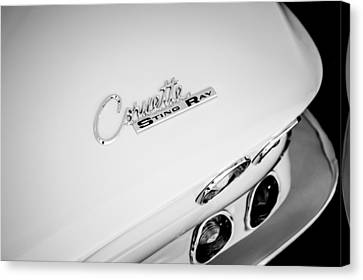 Sting Ray Canvas Print - 1965 Chevrolet Corvette Convertible Sting Ray Taillight Emblem -0396bw by Jill Reger