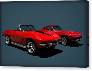 Canvas Print featuring the photograph 1965 Corvette Convertible And 1964 Corvette Stingray by Tim McCullough