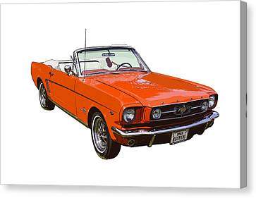 1965 Red Convertible Ford Mustang - Classic Car Canvas Print