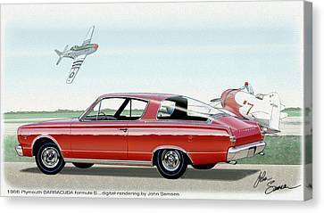 Virgil Canvas Print - 1966 Barracuda  Classic Plymouth Muscle Car Sketch Rendering by John Samsen